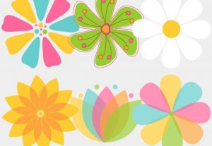 Mixed Flowers Vector Floral Clip Art Set