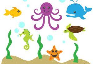 Sea Creatures Ocean Vector Clip Art Set