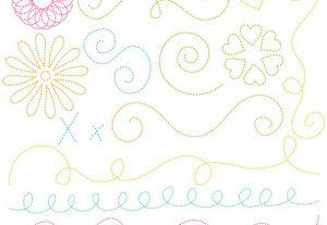Stitched Doodle Flourishes Vector Clip Art Set