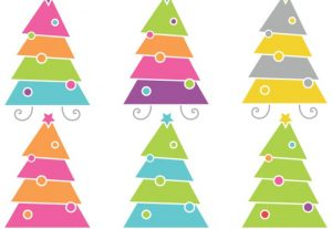 Modern Christmas Trees Holiday Vector Clip Art Set