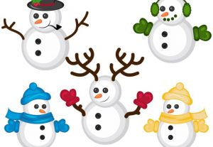 Winter Snowmen Holiday Vector Christmas Snowman Clip Art Set