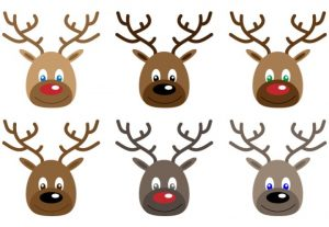 Christmas Reindeer Faces Vector Clip Art Set
