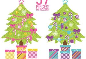 Build Your Own Christmas Tree 57 Piece Vector Clip Art Bundle Set