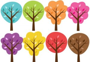 Colorful Seasonal Trees Nature Vector Clip Art Set