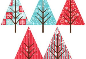 Holiday Pattern Christmas Trees Vector Clip Art Set