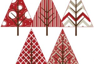 Red And White Holiday Pattern Christmas Trees Vector Clip Art Set