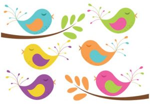 Birds And Tree Branches Vector Clip Art Set
