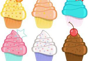 Cupcakes Vector Clip Art Cake Set