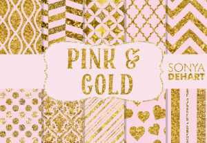 Pink And Gold Glitter Foil Digital Pattern Pack