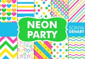 Neon Glow Party Bright Neon Digital Pattern Pack