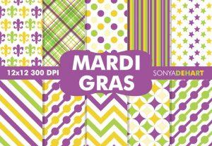 Mardi Gras Digital Pattern Background Pack