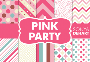 Pink Party Cute Digital Pattern Pack