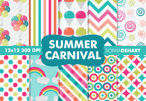 Summer Carnival Digital Paper Patterns