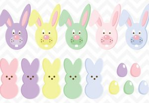 Easter Candy Eggs and Bunny Clip Art