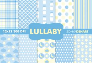 Lullaby Blue Baby Pattern Backgrounds