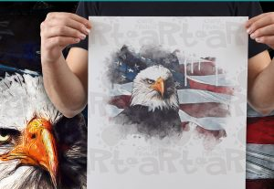 Eagle with Patriotic American Flag B