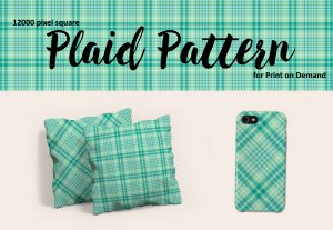 Turquoise and Teal Plaid Pattern – Large Format for POD