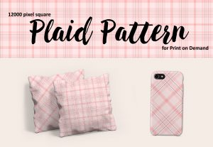 Pastel Pink Plaid – Large Format for Print on Demand