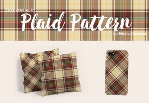 Retro Brown and Cream Rainbow Plaid – Large Format for POD
