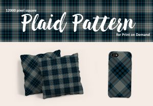 Navy Blue Plaid Pattern for Print on Demand – Royalty Free!