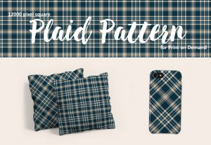 Navy Blue and Beige Plaid – Large Format for Print on Demand