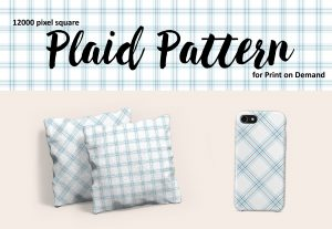 Light Blue and White Large Format Plaid for Print on Demand