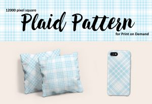 Large Format Light Blue Plaid for Print on Demand