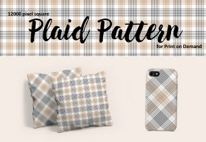 Beige, Black, and White Plaid – Large Format for Print on Demand
