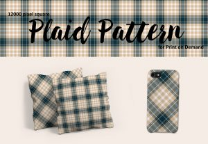 Navy and Beige Plaid – Large Format for Print on Demand