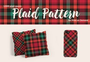 Plaid Pattern in Pink, Peach, Turquoise, and Charcoal