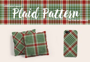 Large Scale Christmas Plaid in Red and Green for Print on Demand