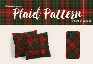 Christmas Plaid Pattern in Red, Green, and Charcoal