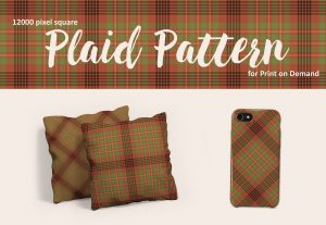Southwestern Plaid Pattern in Terra Cotta and Sage Green