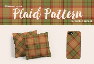 Southwestern Plaid Pattern in Terra Cotta, Sage Green and Beige