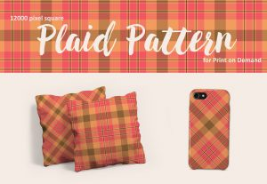 Plaid Pattern in Pink, Peach, and Brown