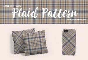 Exclusive Plaid Pattern in Gray, Blue and Gold