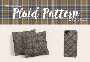 Blue and Tan Plaid Pattern – Large Format for Print on Demand