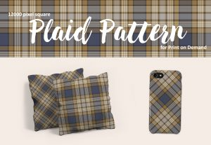 Blue and Tan Large Format Plaid for POD