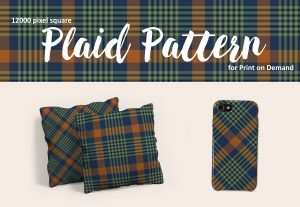 Navy Blue, Green, and Orange Plaid Pattern for POD – Exclusive!