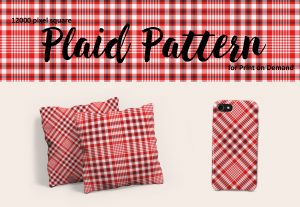 Red Plaid Pattern for Print on Demand – Large Format, Royalty Free