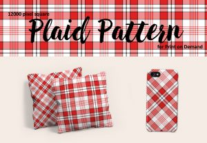 Large Format Red and White Plaid Pattern for Print on Demand