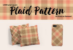 Exclusive Neutral Peach and Beige Plaid for Print on Demand