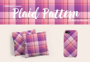 Pink and Purple Large Format Plaid for Print on Demand