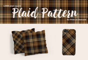Dark Brown Plaid Pattern – Large Format for POD