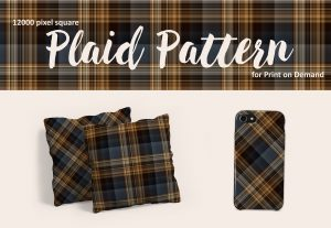 Dark Brown and Dark Blue Plaid Patterns for Print on Demand