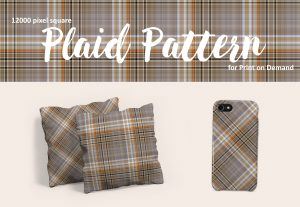 Exclusive Neutral Brown, Gray, and Orange Plaid for POD