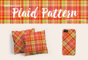 Exclusive Tropical Plaid Pattern – Large Format for Print on Demand