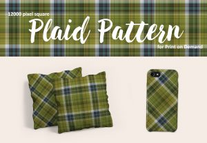 Green and Navy Blue Plaid for POD – Royalty Free!