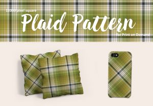 Olive Green Plaid – Large Format for Print on Demand
