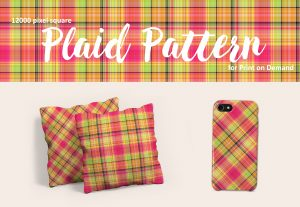 Tropical Plaid in Pink, Yellow, Green and Orange – for POD